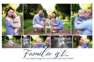 Collage zum Familienshooting in Farbe mit mehreren Fotos