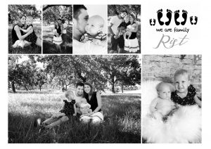 Familienshooting collage in schwarz-weiß