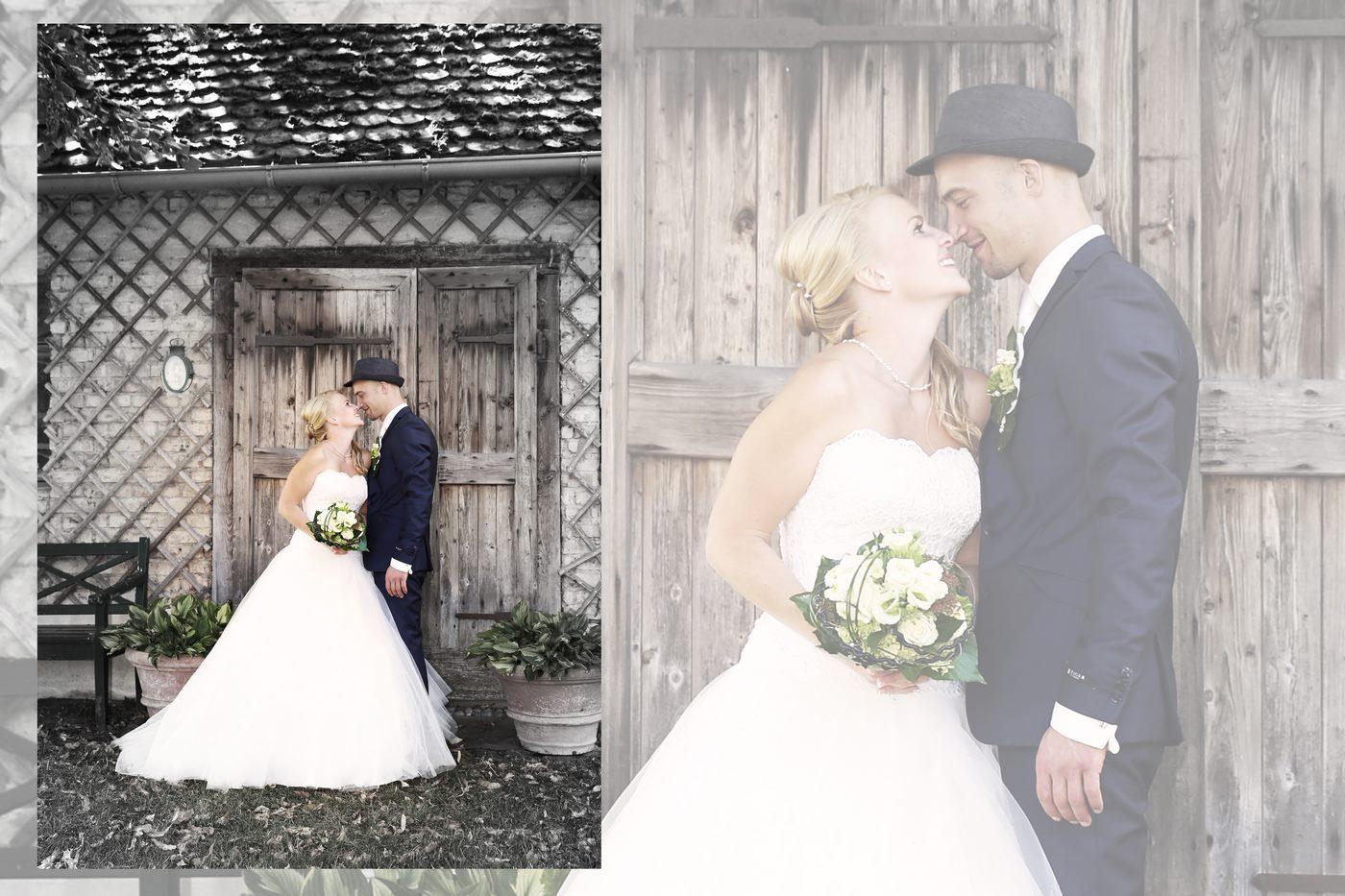Brautpaar vor Jagdhütte fotografiert