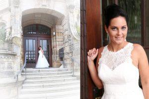 Braut an der Treppe vor einer Kirche stehend
