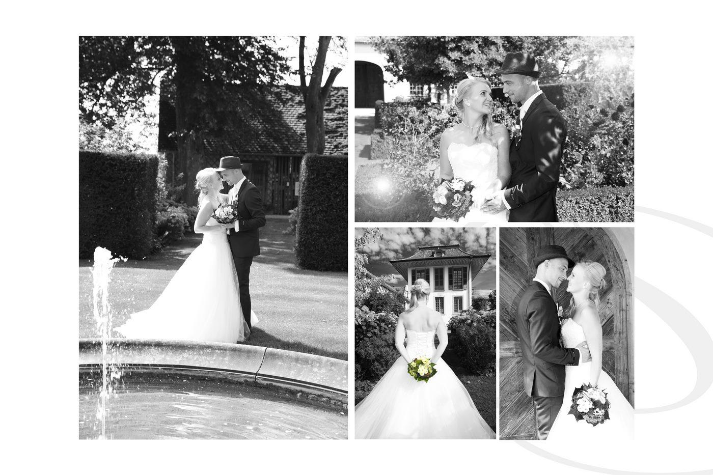 Hochzeitsshooting in Schwarz-weiß zu einer Collage zusammengeführt