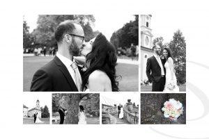 Brautpaar küssend beim Fotoshooting auf der Insel Mainau am Bodensee