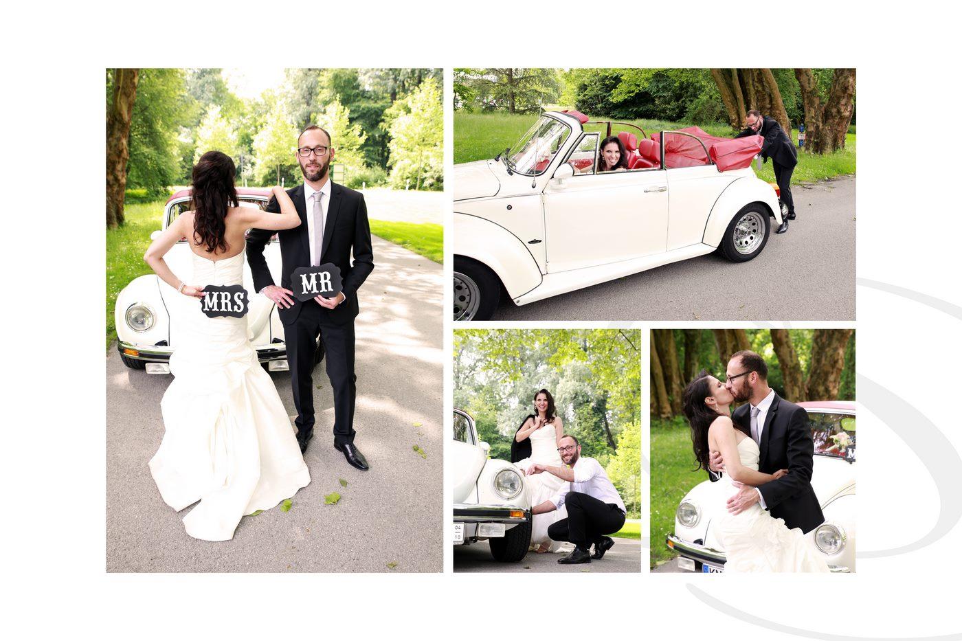 Autopanne mit VW Käfer Brautpaar beim Fotoshooting auf der Insel Mainau am Bodensee