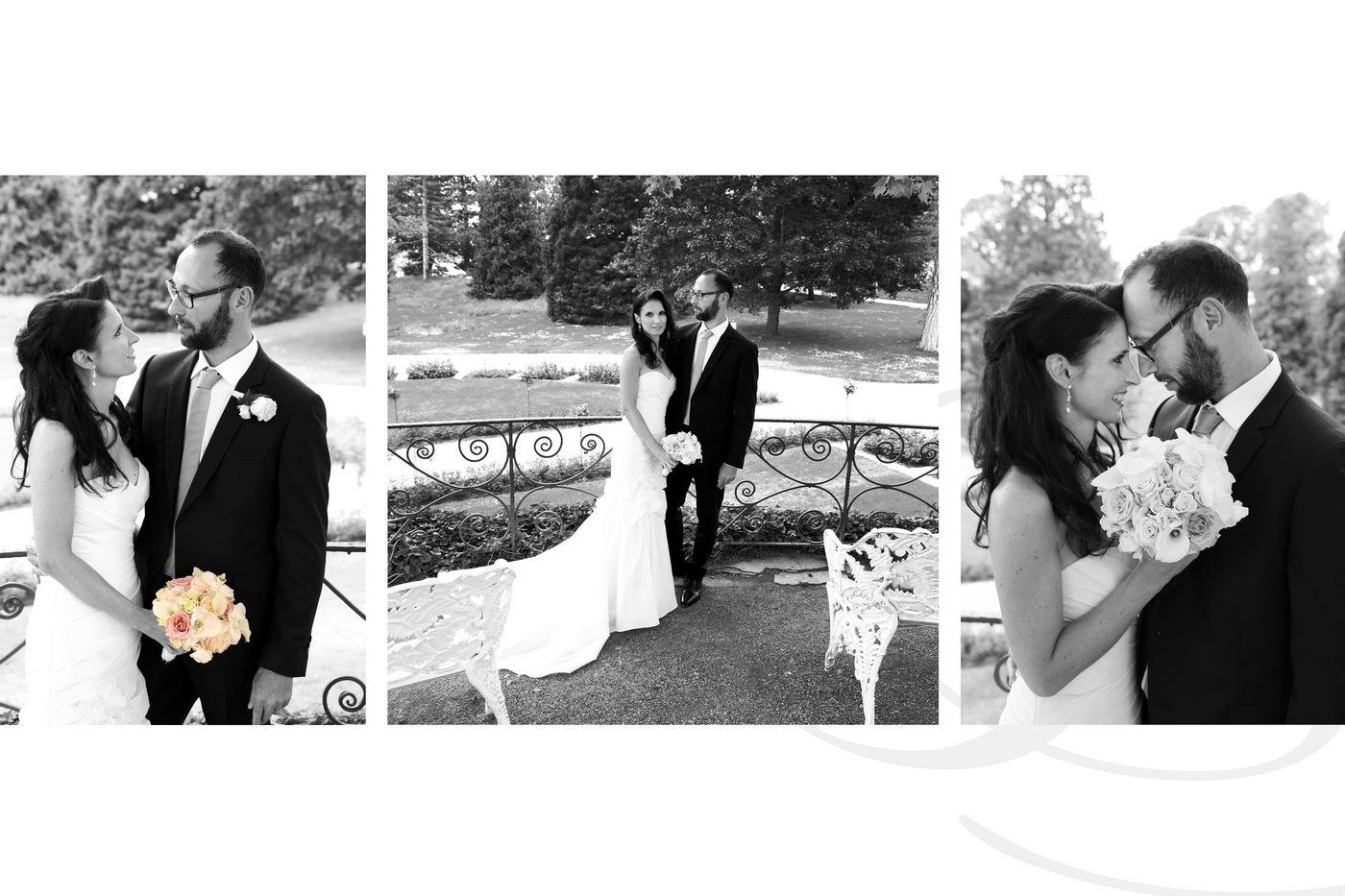 Junges Brautpaar beim shooting auf der insel Mainau in schwarz-weiß