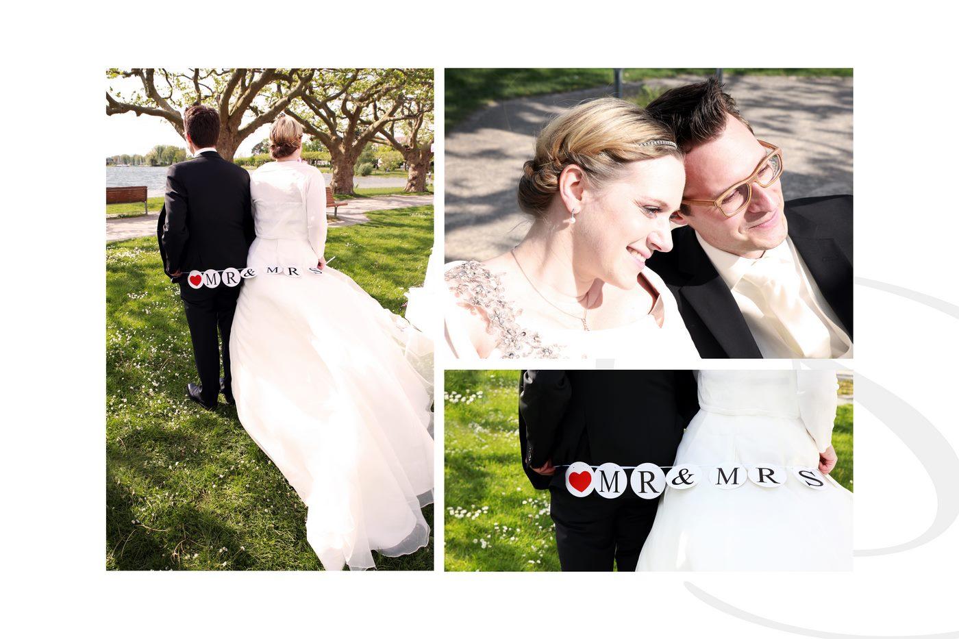 Brautpaarshooting als Collage mit Mr und Mrs Schild