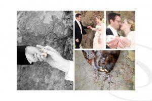 Collage eines glücklichen Brautpaars mit Eheringen