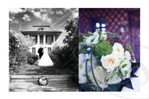 Brautpaar mit dem Rücken zu Kamera und einem Blumenstrauß