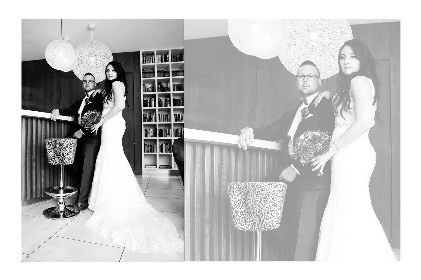 Brautpaar in Hotellobby in schwarz weiß