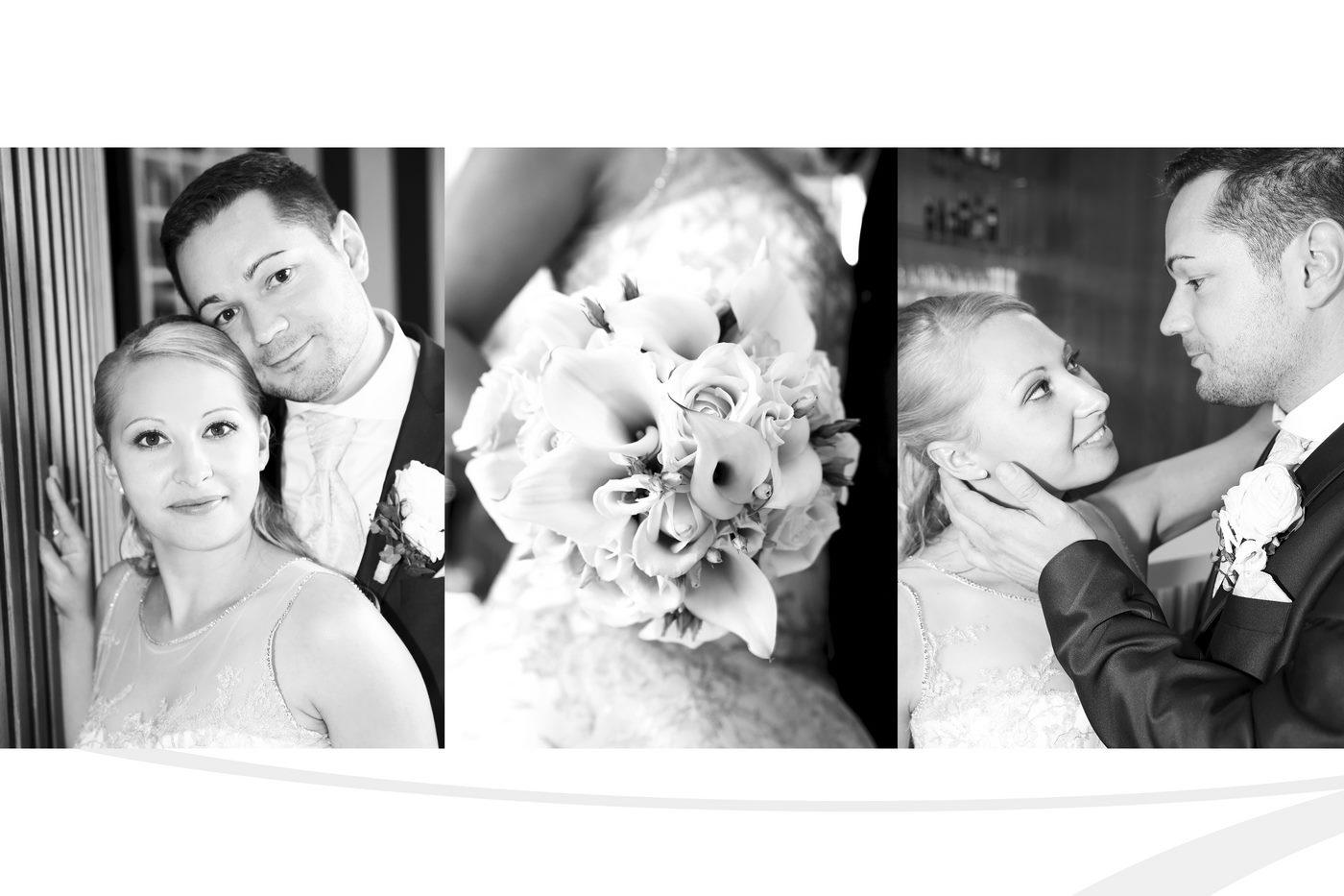 Collage in schwarzweiß Brautpaar