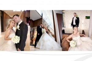 Hochzeitspaar in Hotel Lobby fotografiert