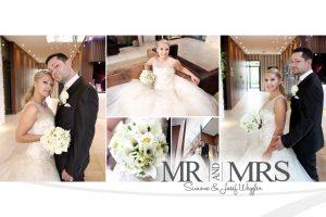 Collage eines Brautpaares während der Hochzeit