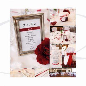 Hochzeitsdekoration in Rot