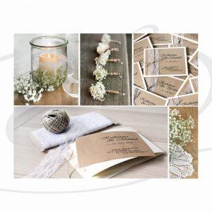 Schleierkraut und Kraftpapier zur Hochzeit