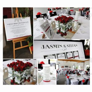 Hochzeitsdekoration in rot mit Staffelei