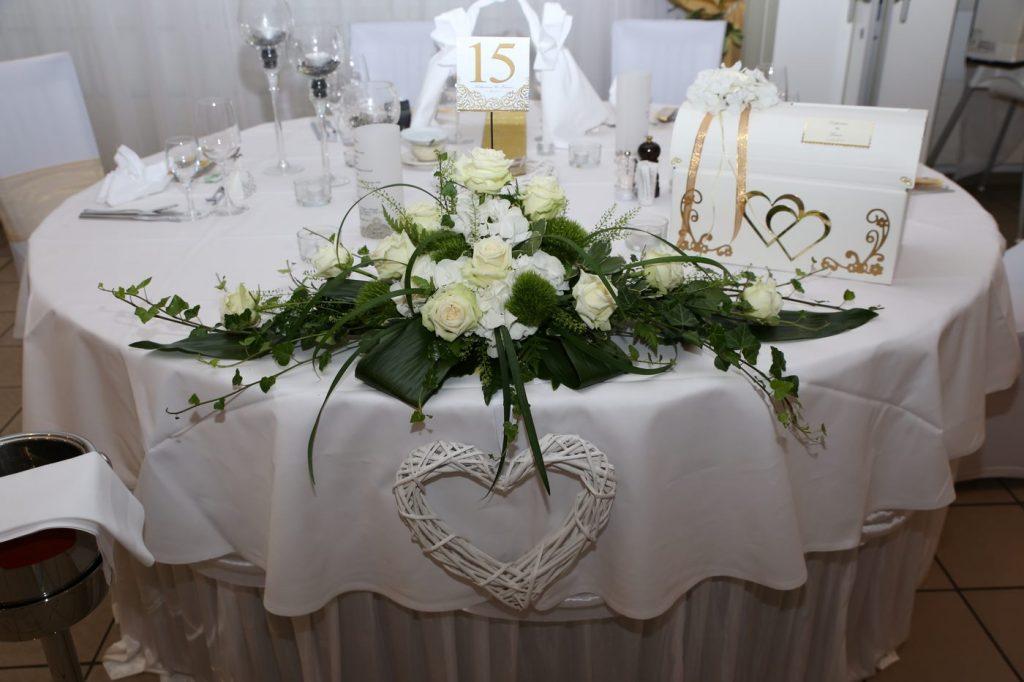 Tischderkoration in weiß mit Tischnummer und Kartenkiste