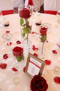 Tischdekoration in rot mit Tischnummern und mit roten Rosen