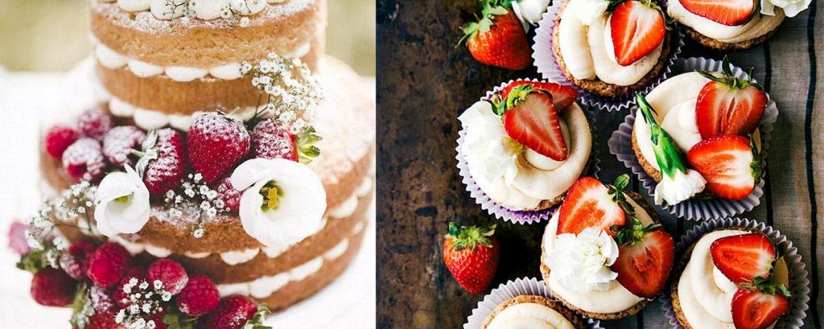 Hochzeitstorte Naked cake und Cupcakes mit frischen Früchten