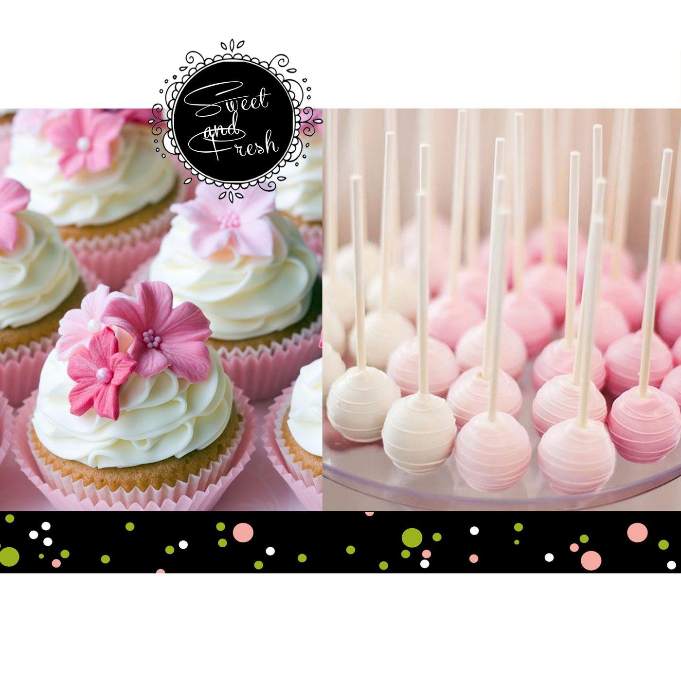 Cakepops in Rosa unf Cupcakes mit Blumen