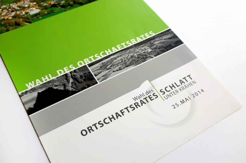 Broschüre Ortschaftsratwahl Schlatt u. Kr vorne