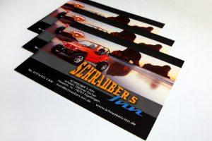 Flyer mit rotem Buggy für Schraubers Inn