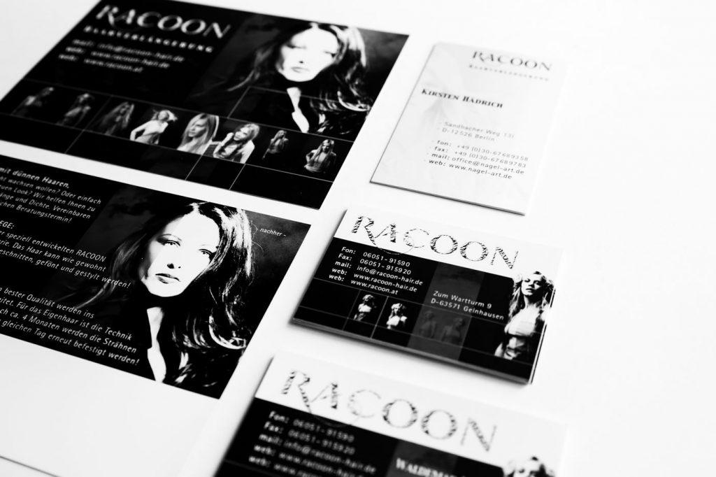 Racoon Übersicht Druckmedien schwarz-weiss