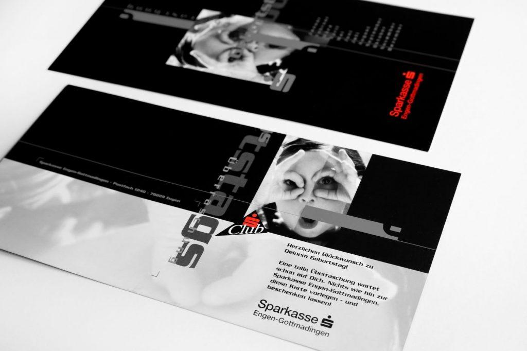 Werbeflyer schwarz-weiß Sparkasse