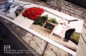 Hochwertiges Fotobuch zur Hochzeit aufgeklappt