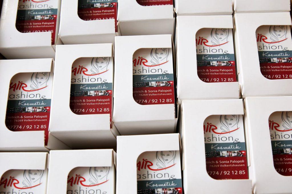 Visitenkarten verpackt Hairfashion Volkertshausen