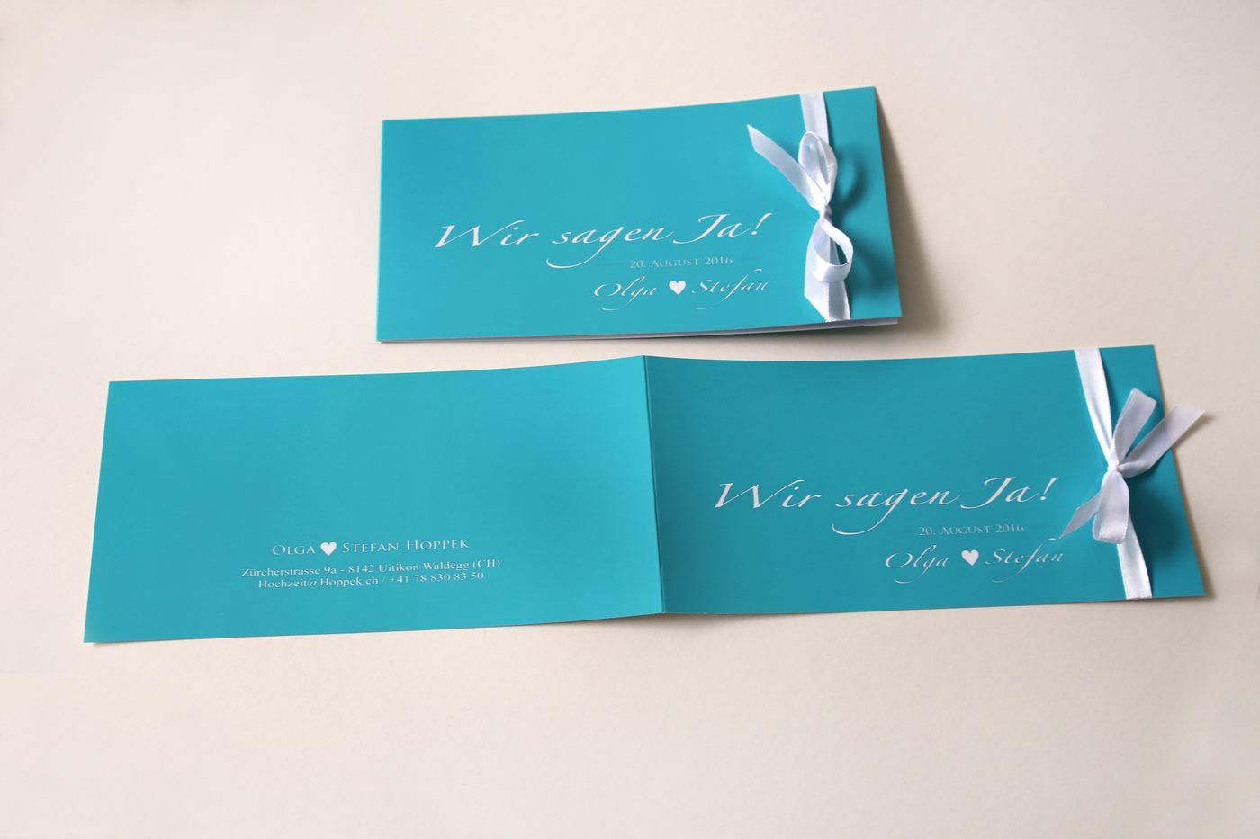 Wir sagen ja Einladungskarte zur Hochzeit in türkis