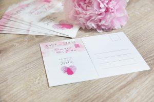 Rosa Save the date Karte als Postkarte zur Hochzeit