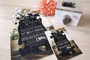 Einladungskarte als Fotopuzzle nach Foto mit Box