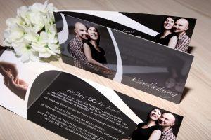 Klappkarte als Einladungskarte zur Hochzeit Nahaufnahme