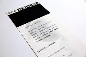 Mode Fischer due Karte gestaltet und gedruckt
