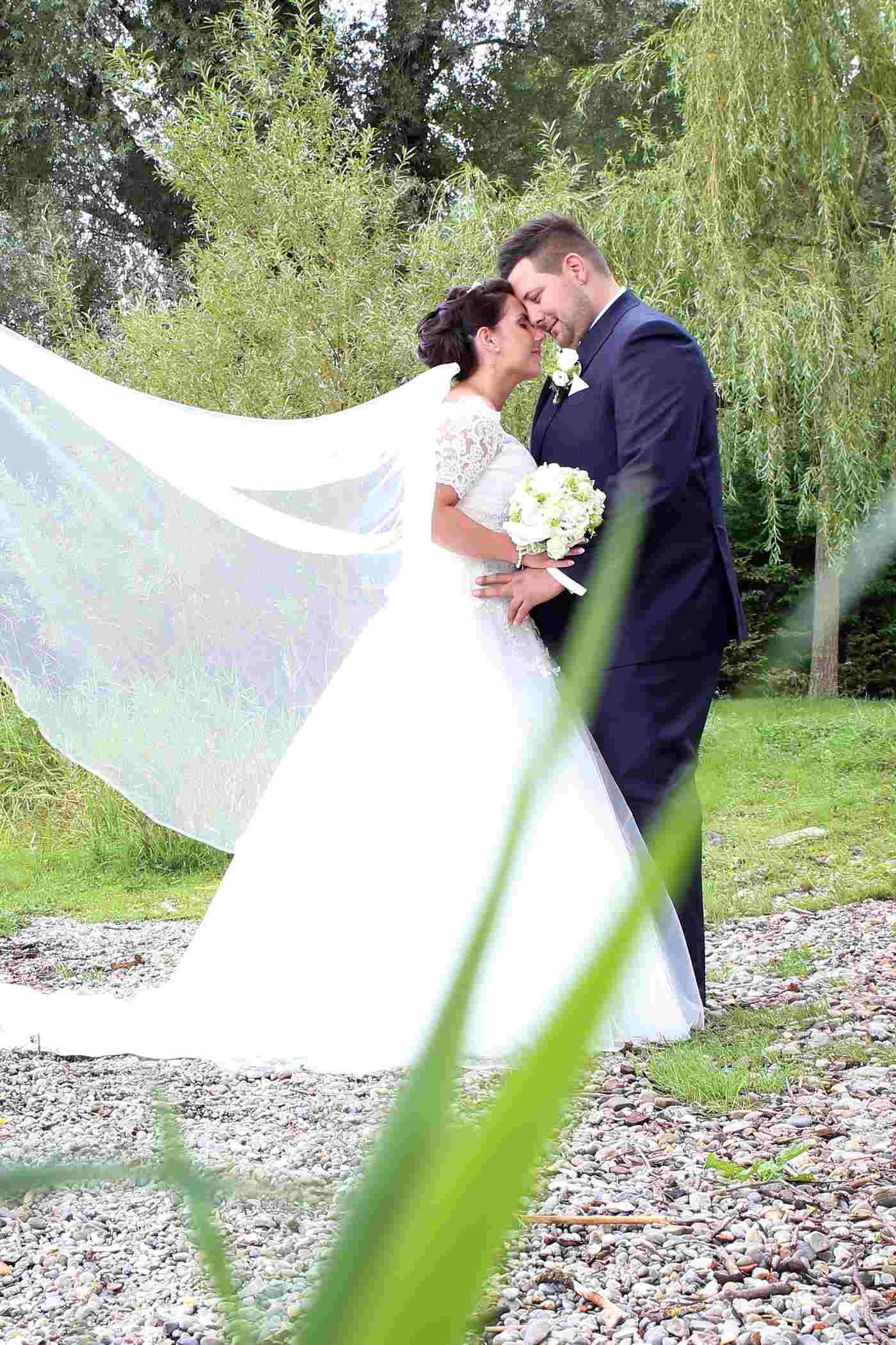 Brautpaar unter einem Weidenbaum